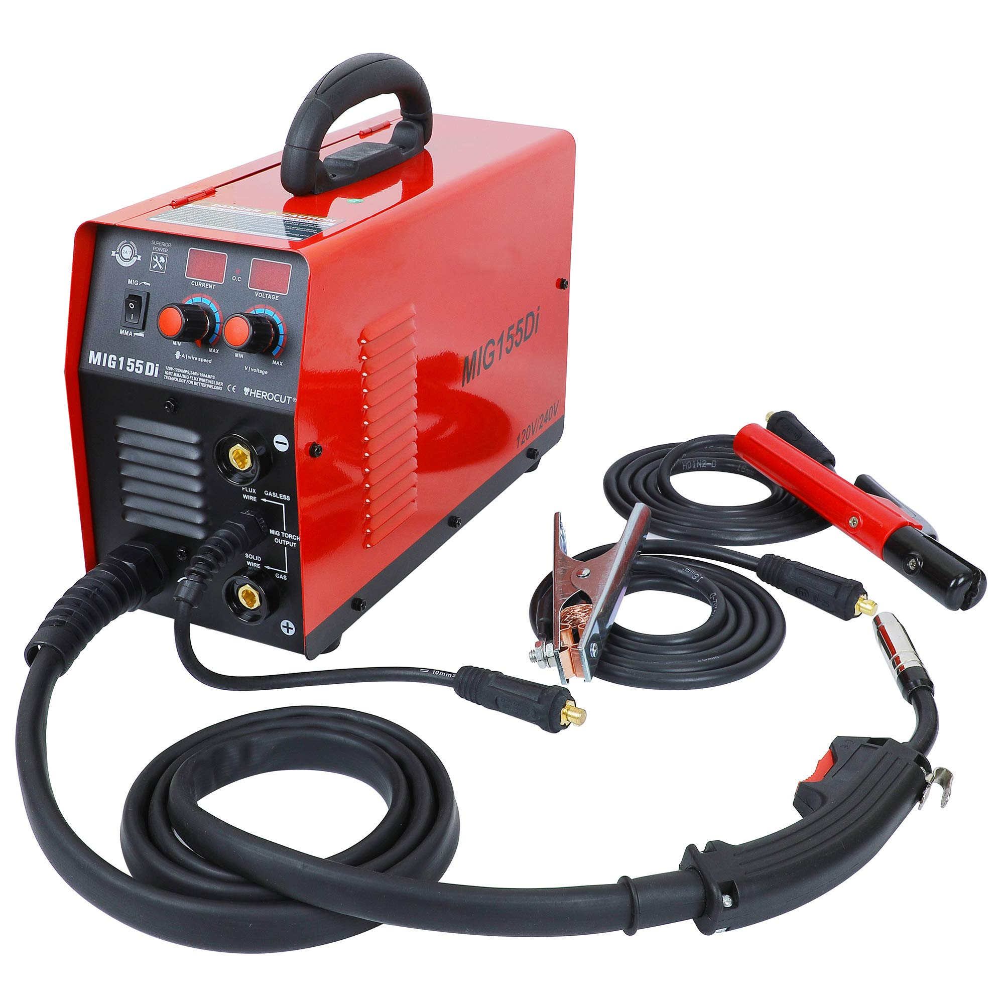 220V IGBT Inverter Mig Welding Machine MIG155 Gas/No Gas, MMA/MIG Flux Wire Welding machine 2 in 1 MMA/Mig Welding Machine 220V Input by HEROCUT