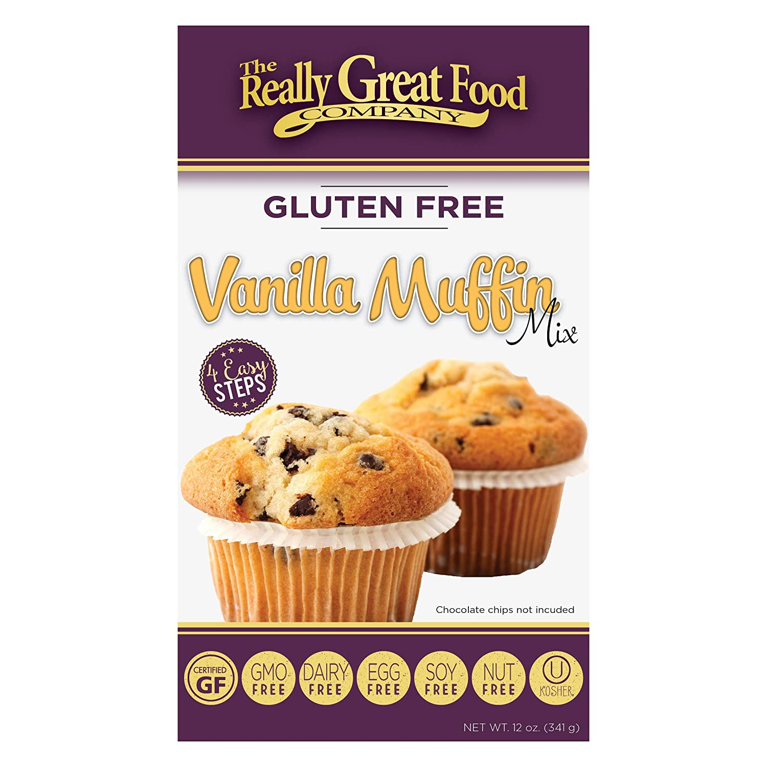 Really Great Food Company – Gluten Free Vanilla Muffin Mix – 12 ounce box - No Nuts, Soy, Dairy, Eggs - Vegan, Kosher, Non-GMO and Plant Based