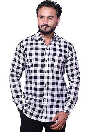 eddfe1b4 REBANTA Mens Checkered Shirt Pure Cotton Casual White Black: Amazon ...