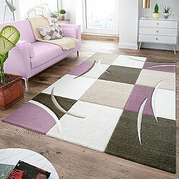 Amazon.de: T&T Design Moderner Teppich Wohnzimmer Kariert ...