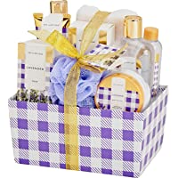 Spa Luxetique Bath Spa Gift Basket Lavender Fragrance, Premium 10pc Gift Baskets for Women, Home Spa Gift Set with Soap…