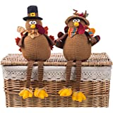 Ogrmar 2 Pack Stuffed Turkey Couple Doll Thanksgiving Tabletop Decoration Exquisite Handmade Turkey Doll Kit for Autumn…