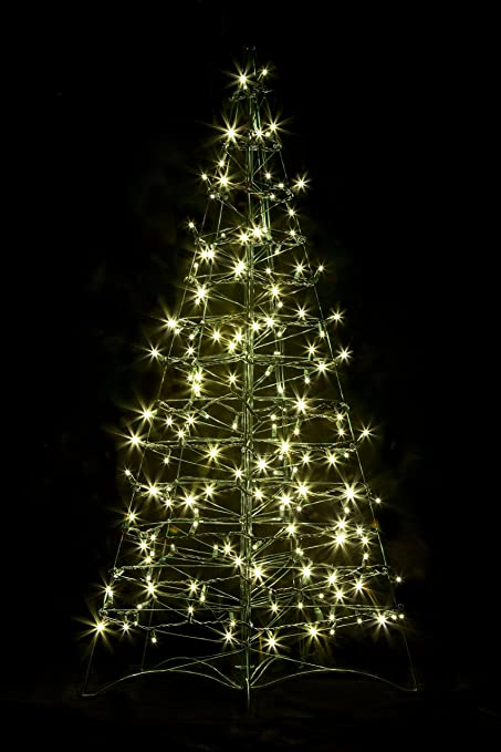 pre lit led 4 folds flat outdoor christmas tree w 160 warm white lights - Pre Lit Outdoor Christmas Tree