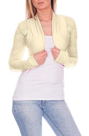 Chaqueta bolero de mujer elegante con puntilla, ocio, fiesta chaqueta de algodón blanco Weiss/Kreme: Amazon.es: Ropa y accesorios