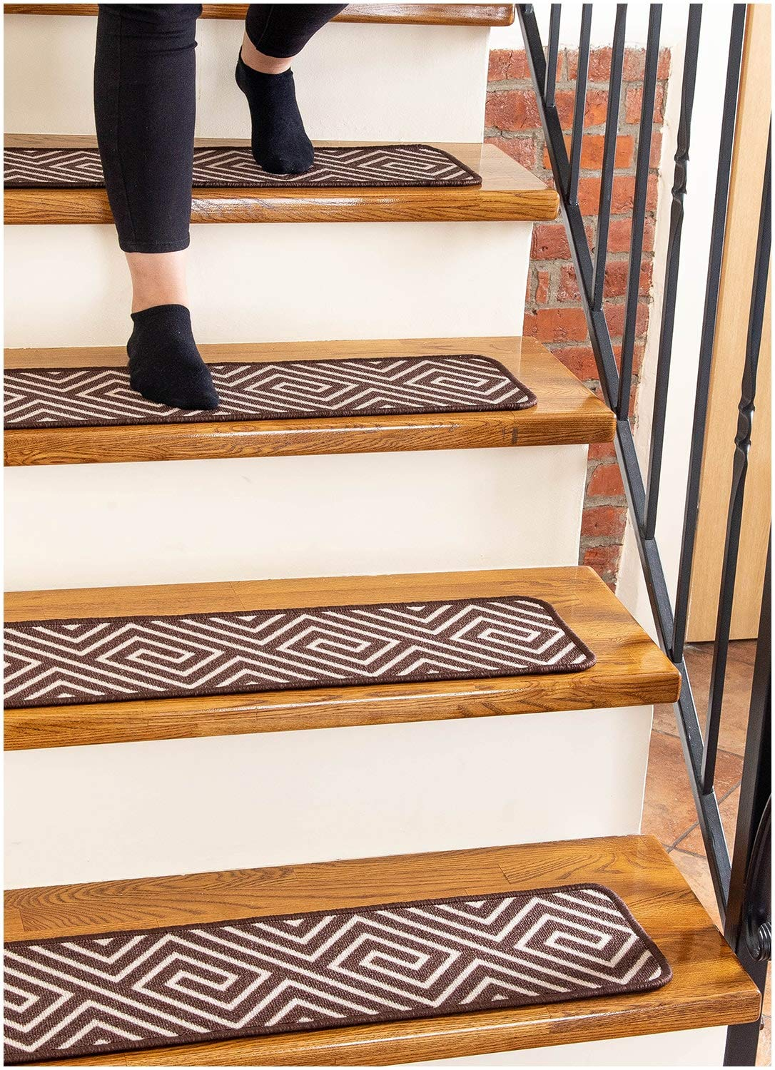 Carpet Stair Treads Non-Slip 8''x30'' Brown - (13-Pack) Runners for Wooden Steps by Finehous