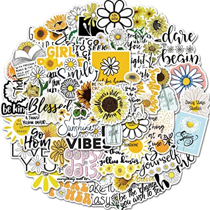 Perfect for Laptop Phone Car Travel Extra VSCO Stickers for Water Bottles Cute Sunflower Sticker,Aesthetic Trendy Stickers for Teens Kids Girls and Boys 50 Pcs Sunflower