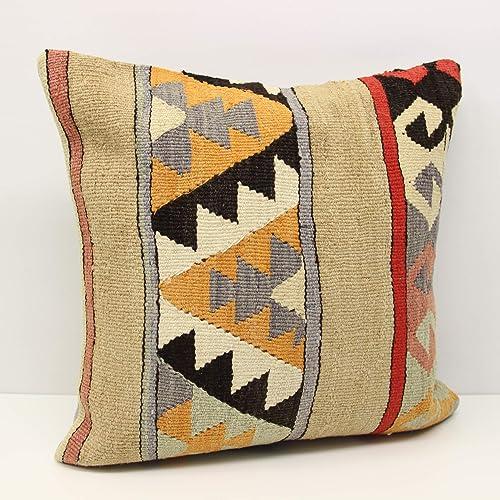 Decorative Throw Pillow Bohemian Kilim Pillow 20x20 Kilim Pillow Kilim Cushion Cover Handwoven Kilim Pillow Vintage Kilim Pillow