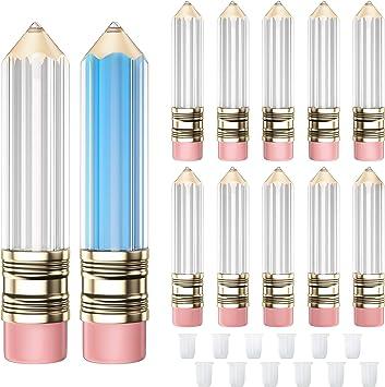 RONRONS 12 Pack Novelty Pencil Shaped Empty Lip Gloss Tubes Containers Gloss Tubes Containers, Clear Mini Refillable Lip Oil Bottles 5ml