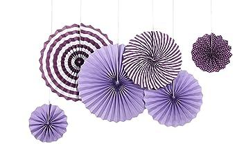 Sunbeauty 6er Set Papierfächer Lila Rosetten Fächer Dekoration Für