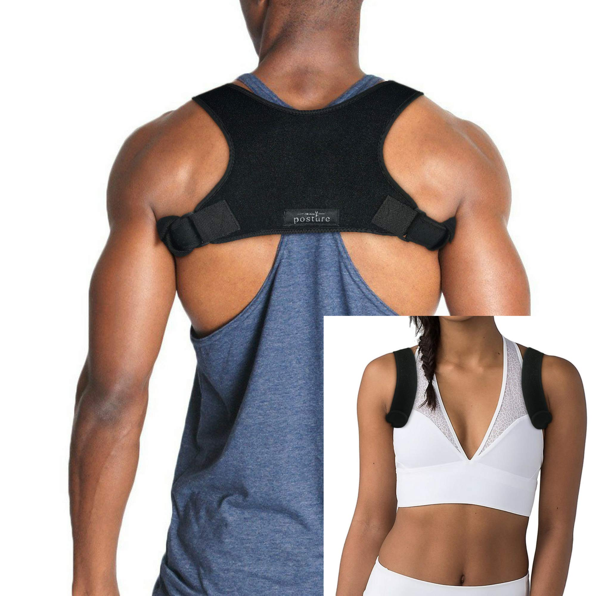 Discreet Posture Corrector Men Women That Provide Clavicle Shoulder Support, Relieve Pain, Improve Thoracic Kyphosis, Prevent Slouching | Under Clothes Upper Back Brace | Regular Size
