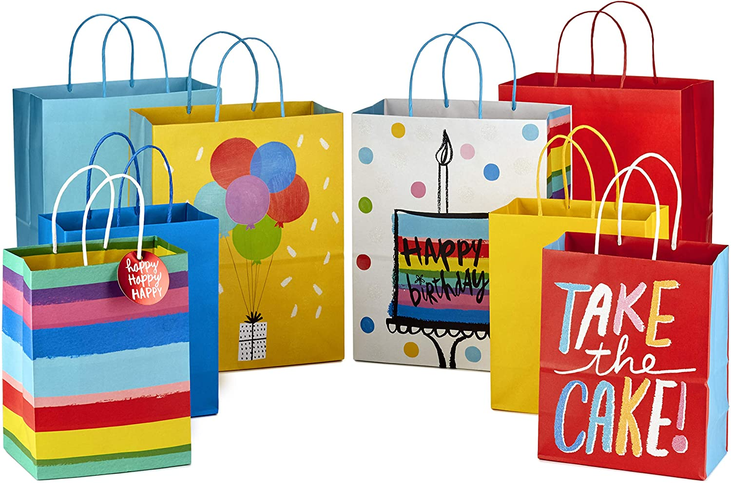 """Hallmark 9"""" Medium and 13"""" Large Gift Bags Assortment (Pack of 8; 4 Large and 4 Medium) for Birthdays, Baby Showers or Any Occasion"""