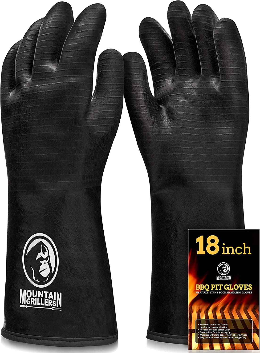 Extreme Heat Resistant Gloves for Grill BBQ - High Temperature Fire Pit Grill Gloves - Barbecue Cooking, Smoker, Oven, Fryer, Grilling - Waterproof, Fireproof, Oil Resistant - Neoprene Coating (18in)