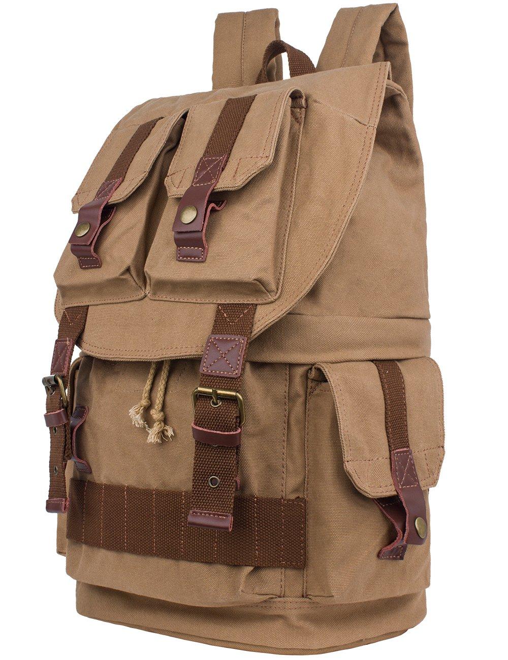 Leaper Large Canvas DSLR SLR Camera Backpack Rucksack Bag for Sony Canon Nikon Olympus (Khaki)