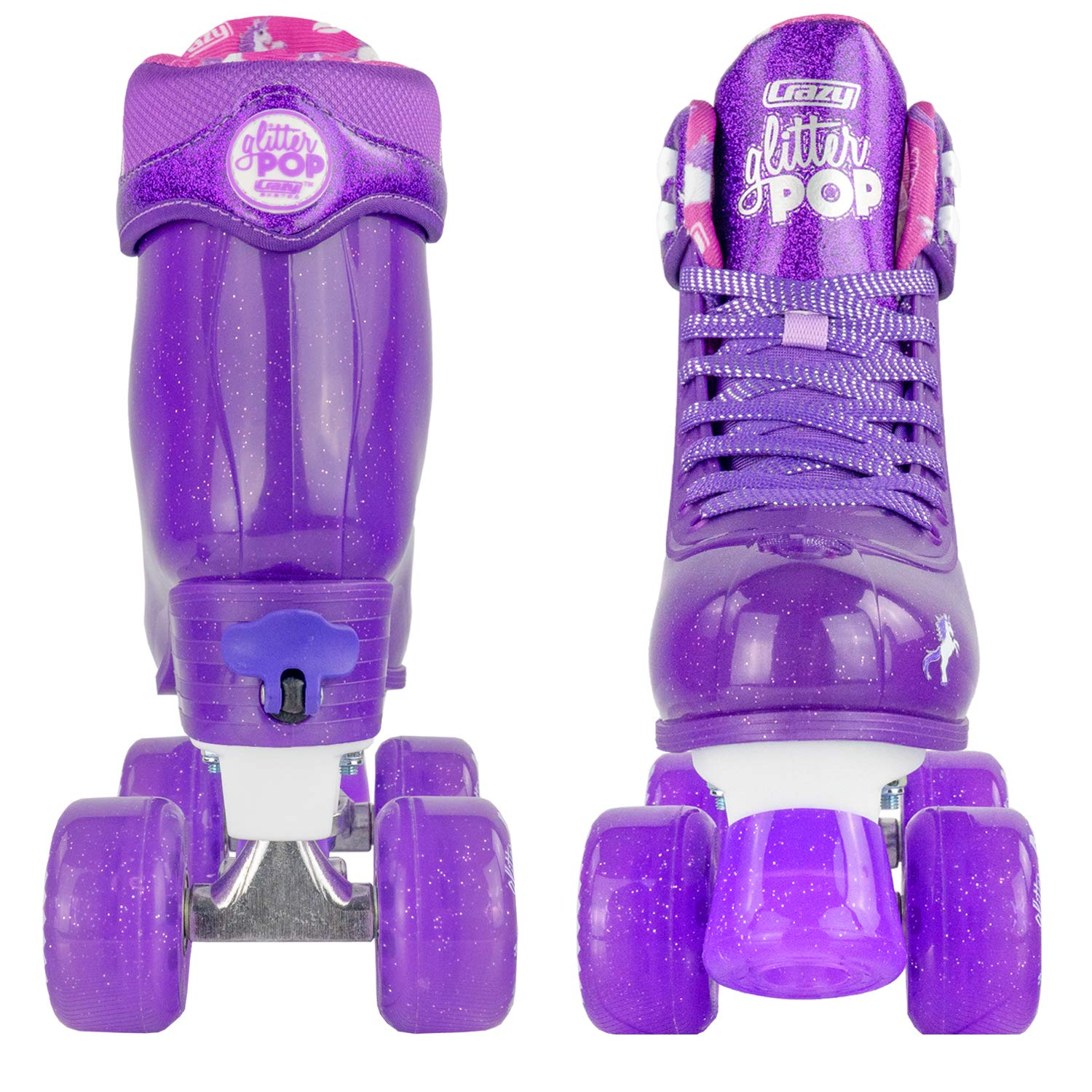 Crazy Skates Glitter POP Adjustable Roller Skates for Girls and Boys | Size Adjustable Quad Skates That Fit 4 Shoe Sizes | Purple (Sizes 3-6) by Crazy Skates (Image #9)