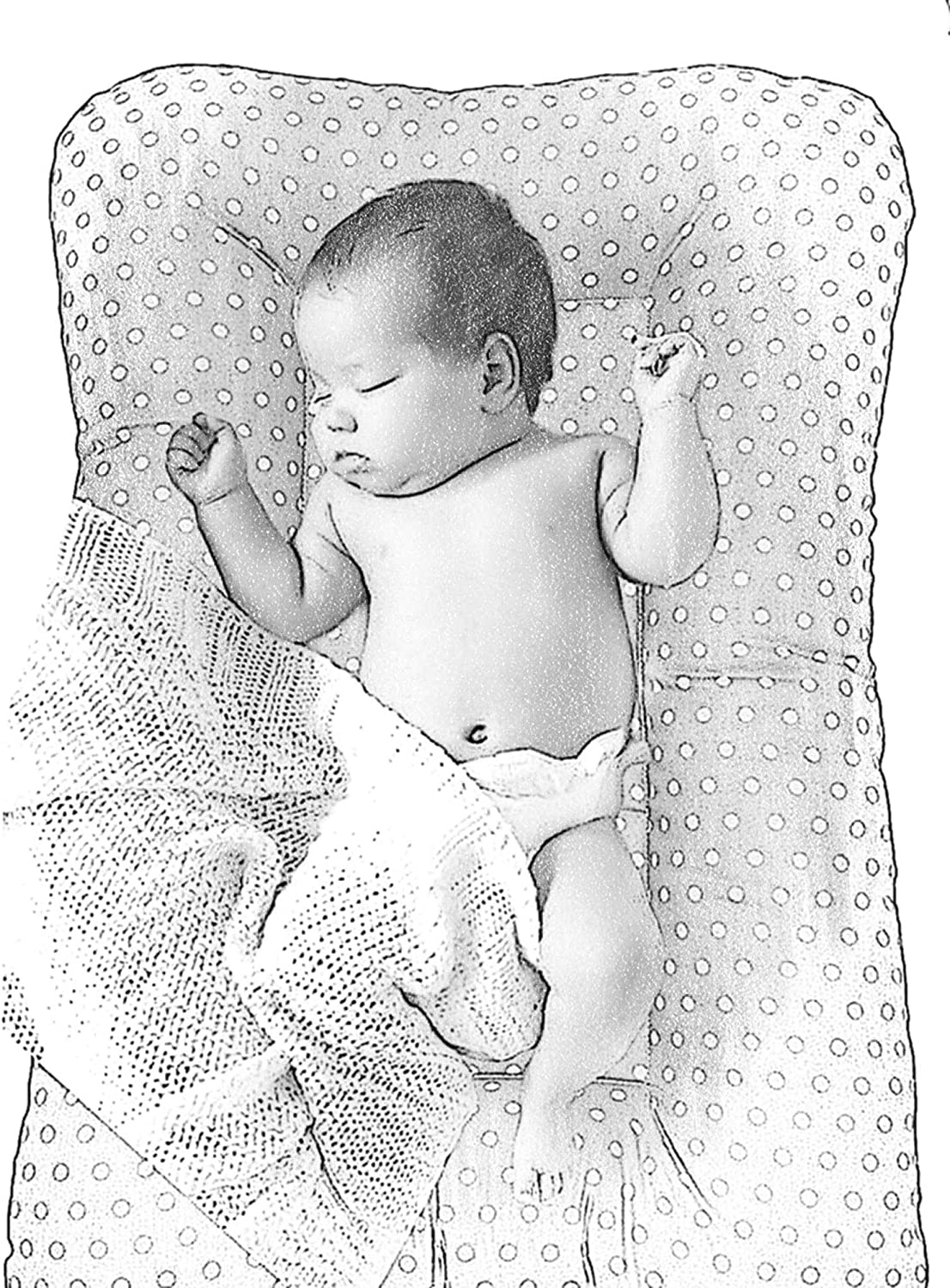 80cm x 50cm. CraftSpace Deluxe Baby Set for newborn babies Lounger + Pillow Cotton and Hypoallergenic filler Various Designs Beige//Grey dots Double-sides