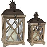 Stonebriar Decorative Wooden Hurricane Candle Lantern Set, Use As Decoration for Birthday Parties, a Rustic Wedding…