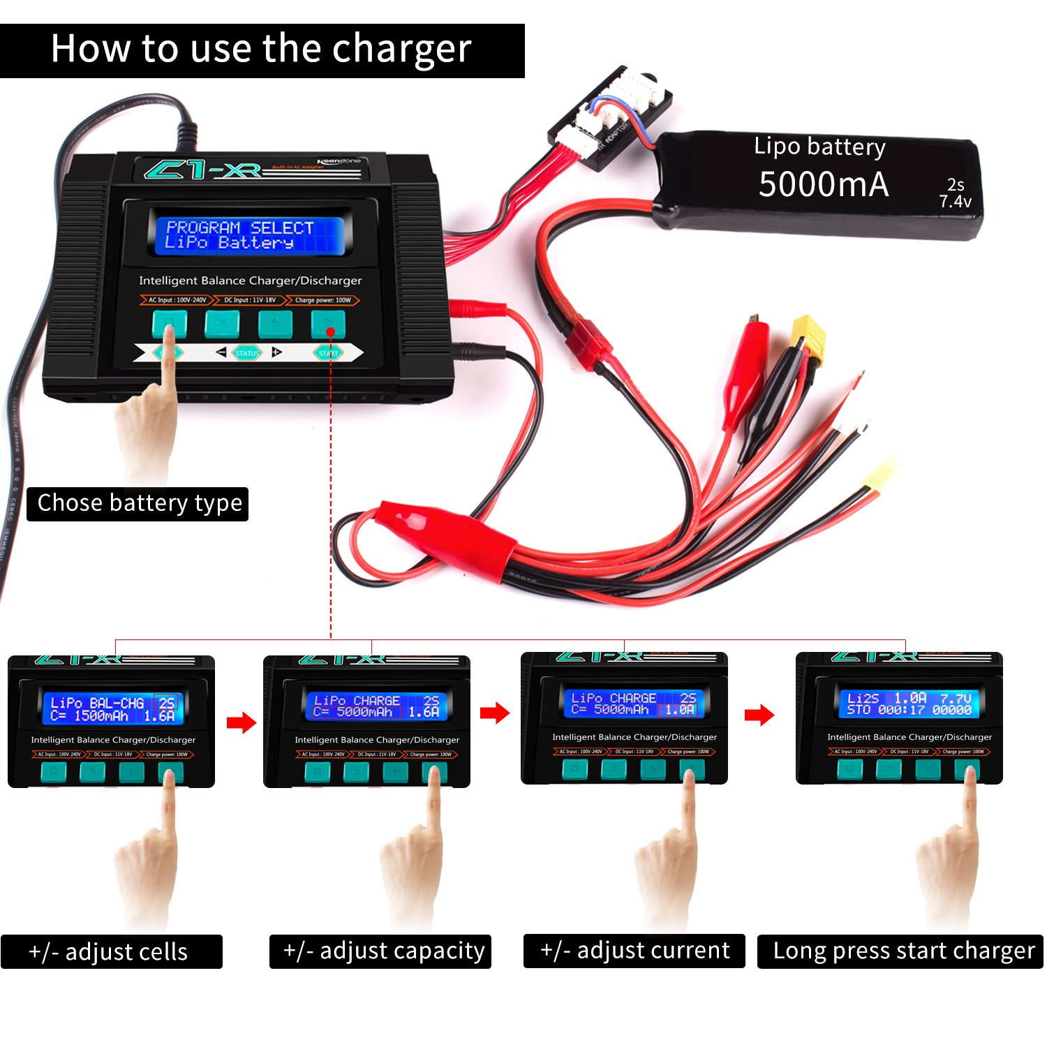 Keenstone Lipo Battery Charger Discharger with Low Voltage Checker 10A 100W AC/DC 1S-6S Digital Battery Pack Charger for Li-Po Li-Hv Li-Ion Li-Fe NiMH Ni-Cd Pb