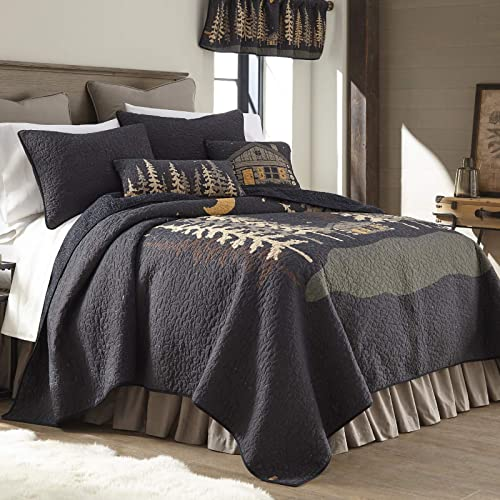 Donna Sharp King Bedding Set – 3 Piece – Moonlit Cabin Lodge Quilt Set with King Quilt and Two King Pillow Shams – Machine Washable