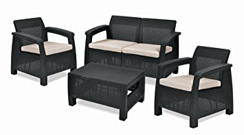 Keter Corfu Outdoor 4 Seater Rattan Sofa Furniture Set With Accent Table    Graphite With Cream