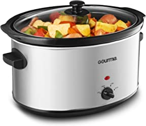 Gourmia PC850 Slow Cooker - Oval - Auto Mode - Cool Touch Handles - 8.5 Qt - 380W - Stainless Steel