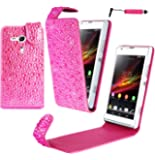 Magic Global Gadgets - Pink Sparkly Diamond Bling Rhinestone Gems Luxury Leather Flip Case For Sony Xperia SP M35H / HSPA C5302 / LTE C5303 / LTE C5306 Magnetic Flip Protective Stylish Design Pouch Cover With Screen Guard Protector & Capacitive Mini Stylus Pen