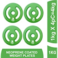 Kakks Solid Neoprene Coated Weight Plates Pack of 4pc (1 to 5 Kg) (31 MM Center Hole)