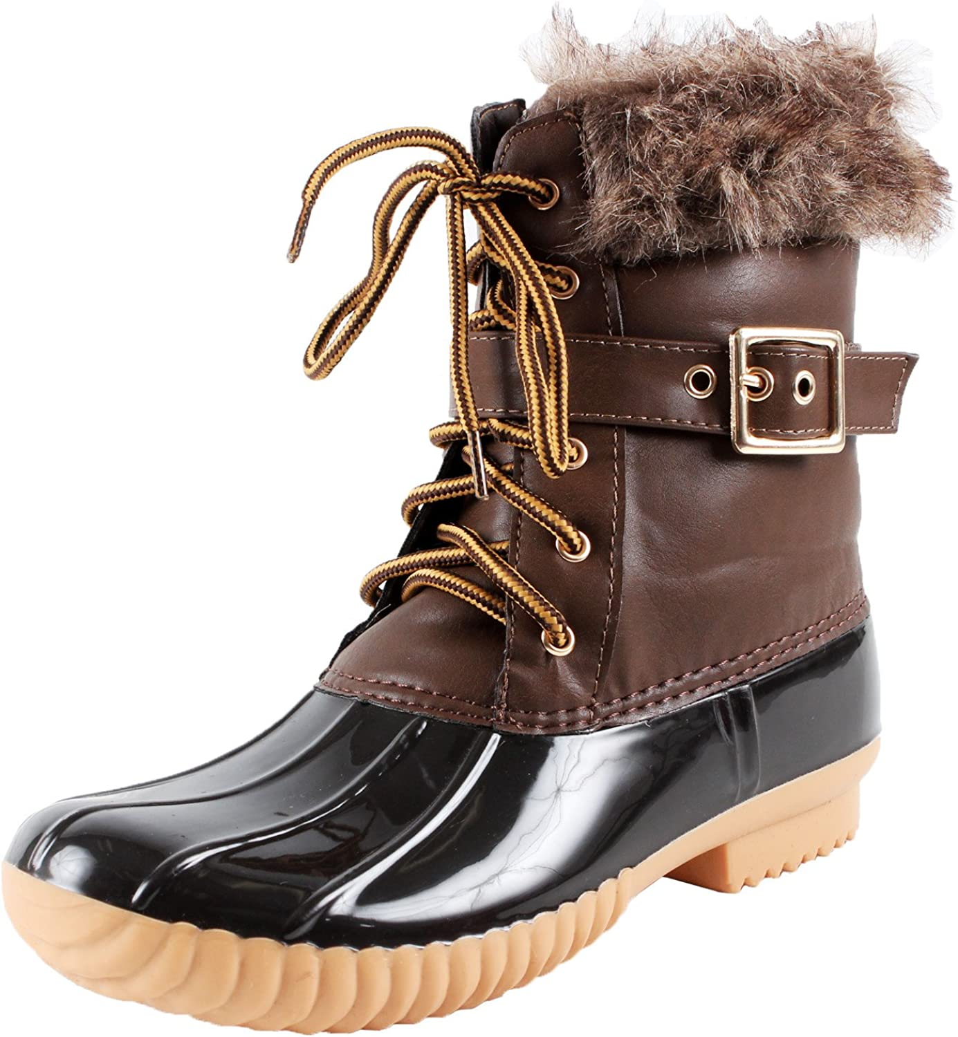 Nature Breeze Duck-01 Women's Chic Lace Up Buckled Duck Waterproof Snow Boots
