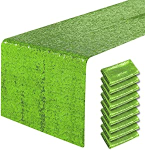 Pufogu 10 Packs 12 x 72 inches Apple Green Sequin Table Runner, Glitter Runner for Birthday Party Supplies Decorations Wedding Bachelorette Holiday Celebration Bridal Shower Baby Shower