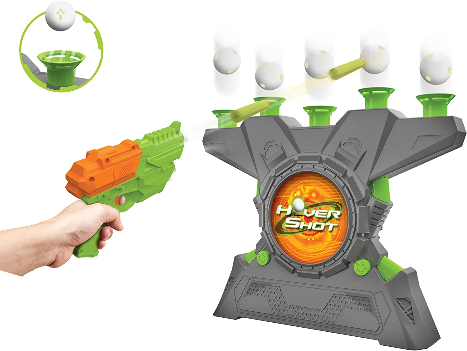 Amazon Com Merchant Ambassador Hover Shot 2 0 Game Air Powered Blaster Foam Darts With Glow In The Dark Targets Toys Games