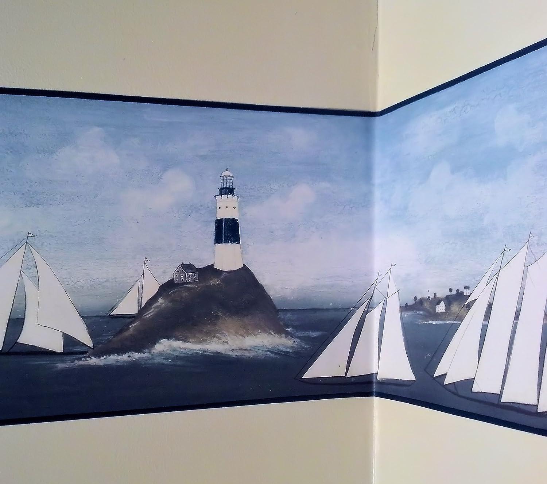 Lighthouse and Sailboats Primitive Wallpaper Border Nautical