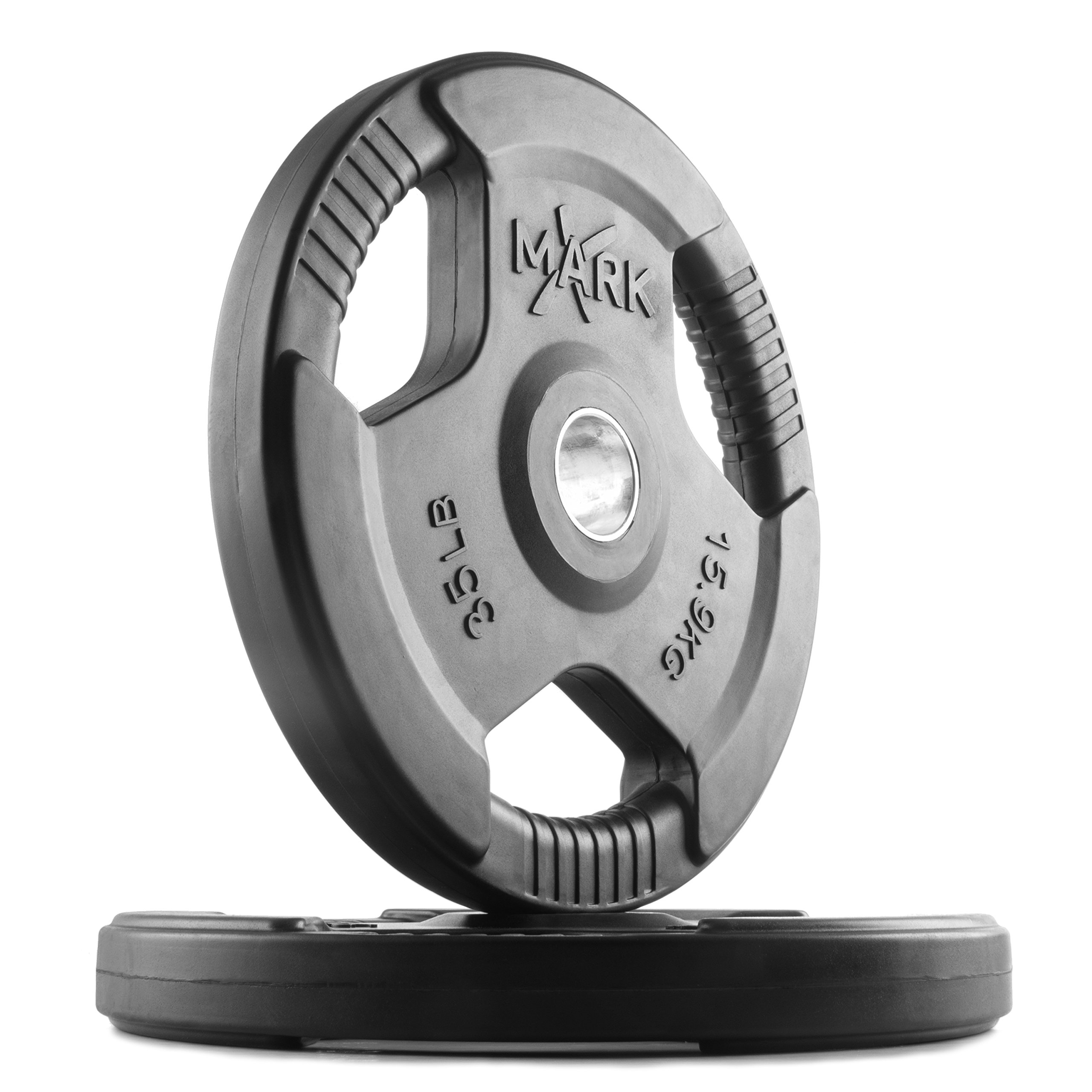 XMark TRI-Grip 35 lb Pair Olympic Weights, Premium Rubber Coated Olympic Plates, One-Year Warranty
