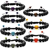 J.Fée 7 Pack Chakras Healing Gemstone Adjustable Yoga Stretch Bracelet - Healing Oil Diffuser Bracelet Series