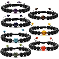 J.Fée 7 Pack Chakras Healing Gemstone Adjustable Yoga Stretch Bracelet - Healing Oil Diffuser Bracelet Series