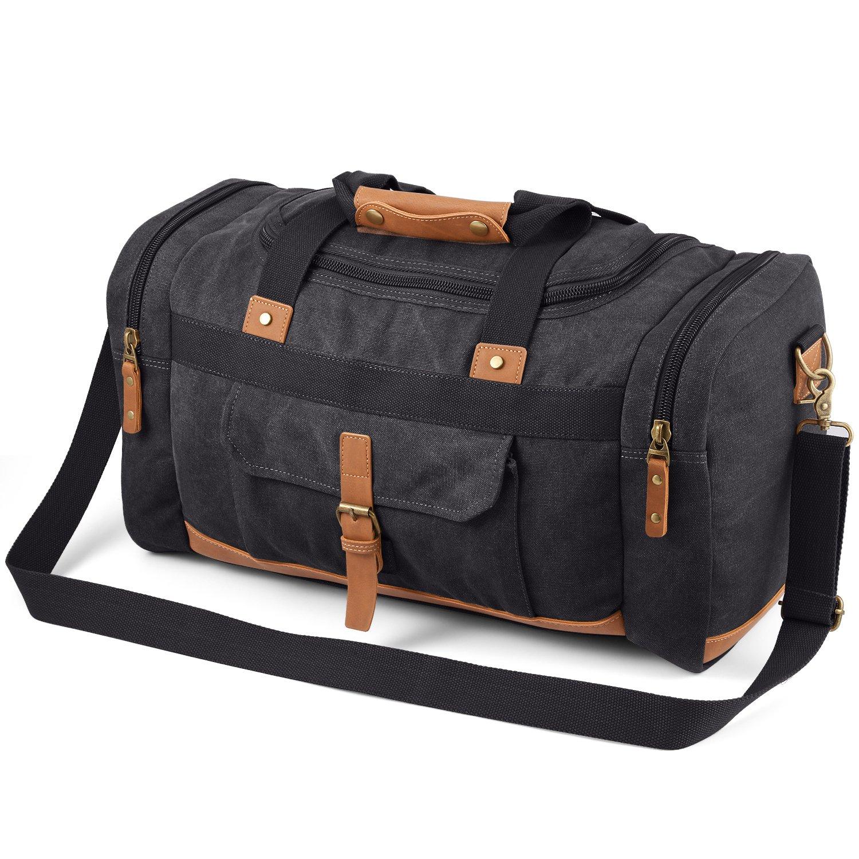 Plambag 50L Canvas Luggage Duffel Bag Travel Tote Shoulder Bag(Dark Gray)
