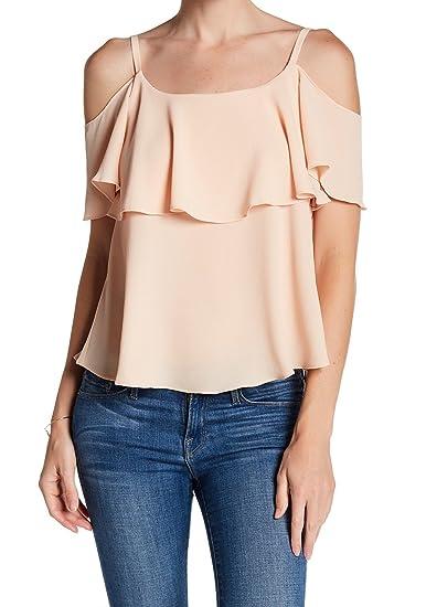 1e6f09c0fdff6 Bobeau Womens Large Ruffled Cold-Shoulder Blouse Orange L at Amazon Women s  Clothing store