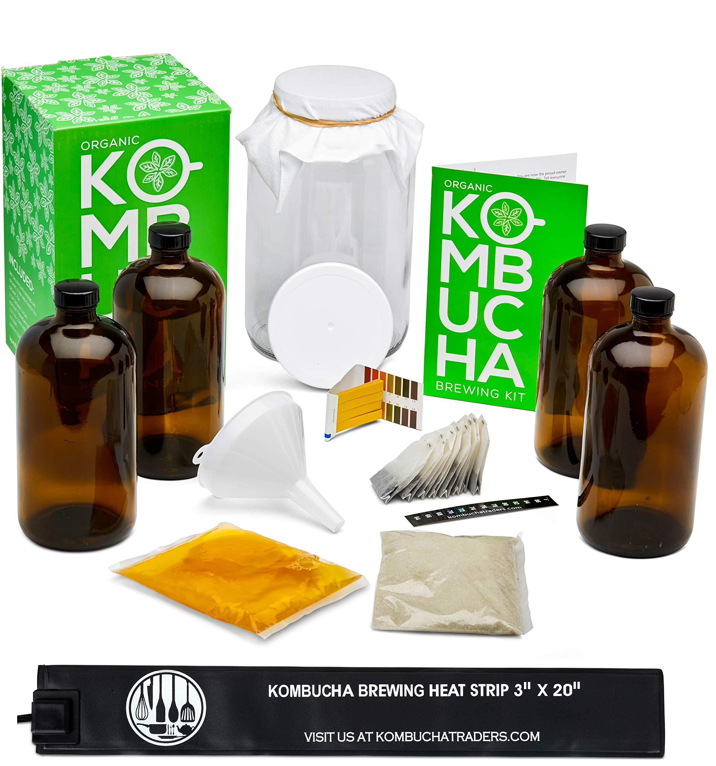 Kitchentoolz Two Phase Kombucha Starter Kit w/Heat Wrap- Kombucha Jar, Kombucha Bottles, Scoby and Basic Ingredients for a Full Kombucha Experience (Amber Bottles)
