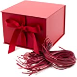 "Hallmark 7"" Gift Box with Fill (Solid Red) for Christmas, Birthdays, Father's Day, Bridal Showers, Weddings, Baby…"
