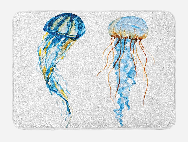 "Ambesonne Jellyfish Bath Mat, Jellyfish Exotic Sea Ocean Creature Aquatic Animals Watercolor Raster Graphic, Plush Bathroom Decor Mat with Non Slip Backing, 29.5"" X 17.5"", Blue"