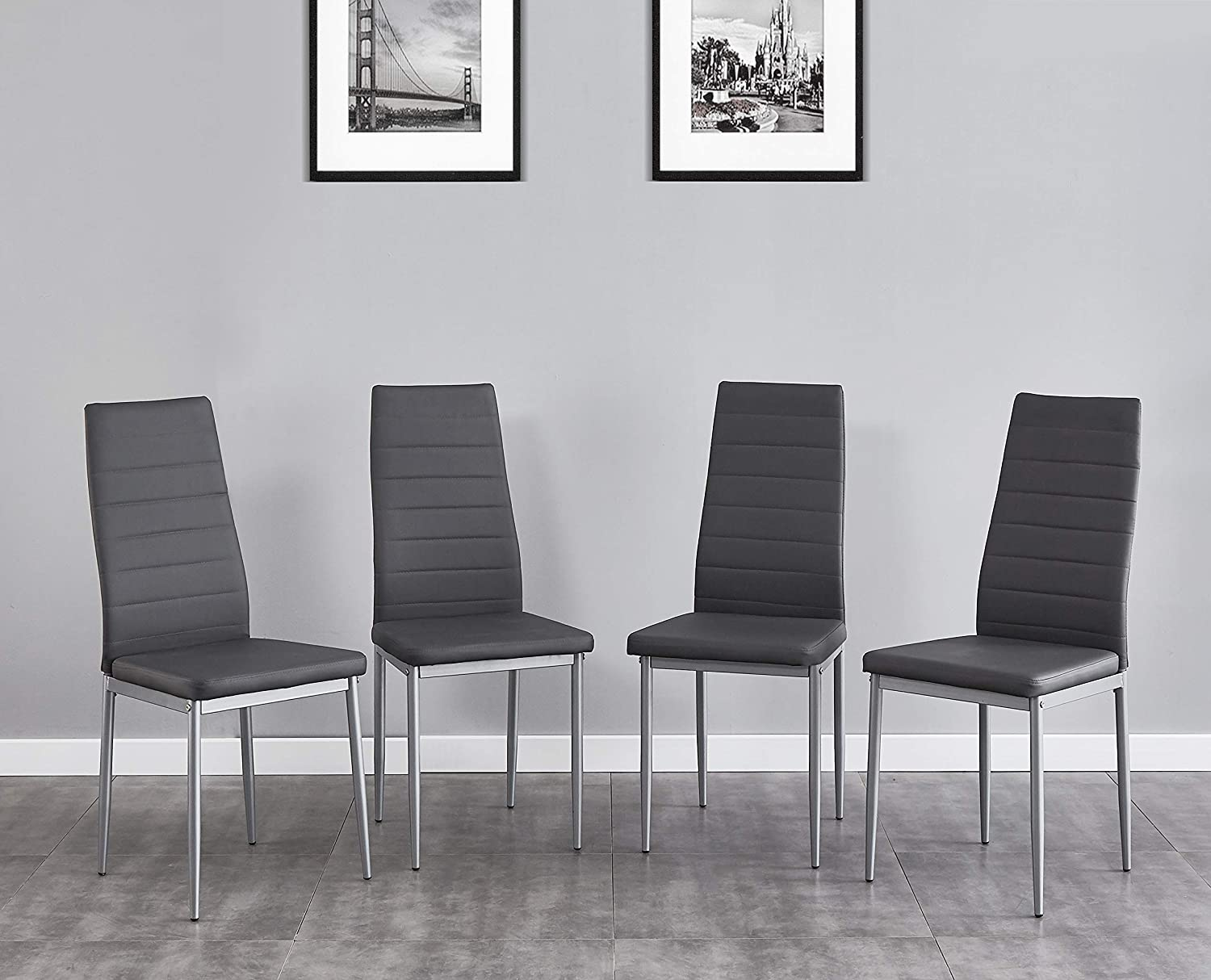 Salbay Dining Chairs Set of 2/4/6,High Back Faux Leather Kitchen Chairs with Chrome Metal Legs for Dining Room Living Room Office and Lounge (Grey, 4) Grey