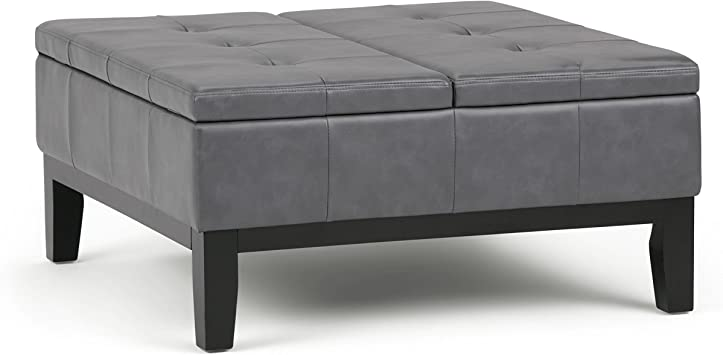 Simpli Home Dover Square Coffee Table Ottoman With Split Lift Up Lid Stone Grey Amazon Ca Home Kitchen