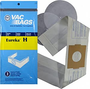 DISPOSABLE STYLE H VAC BAGS (1 PACK - CONTAINS 3 BAGS & FILTERS) DESIGNED TO FIT EUREKA 500, 600, 700, 1500, 3200 3400 SERIES & MODELS 1240 & 1250