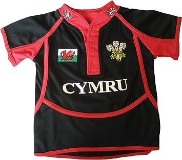Manav Cooldry nastrate Gales camiseta de niño, color rojo, negro: Amazon.es: Deportes y aire libre
