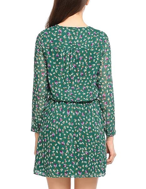 ea9debd4970a58 Zeagoo Damen Chiffonkleid Blumen Langarm Freizeitkleid Strandkleid Casual  Kleid Knielang A Linie: Amazon.de: Bekleidung