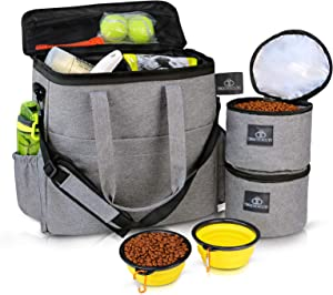 Bigeyescute Dog Travel Bag Dog Camping Pet Travel Bag Airline Approved Travel Set for Dogs Stores Incudes 1xDog Pet Travel Bag,2xDog Food Carrier Bag,2xPet Silicone Collapsible Bowls