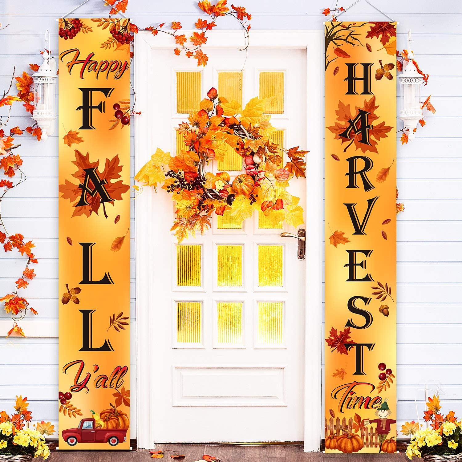 Blulu Welcome Fall Harvest Decorative Porch Sign Autumn Door Sign Pumpkin Maple Leaf for Fall Party Thanksgiving Decoration Garden Yard (Orange Happy Fall Y'all)