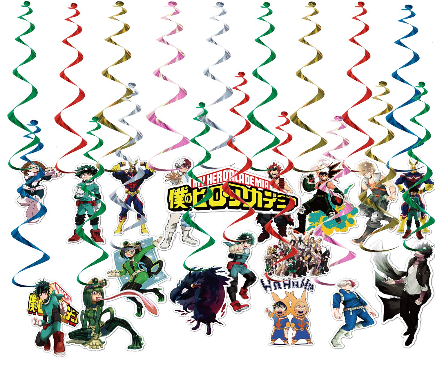 My Hero Academia Hanger Set - 36 Count Hanging Swirls Decorations Multicolored Hanging Streamers Cutouts for MHA Fans Birthday Party Supplies