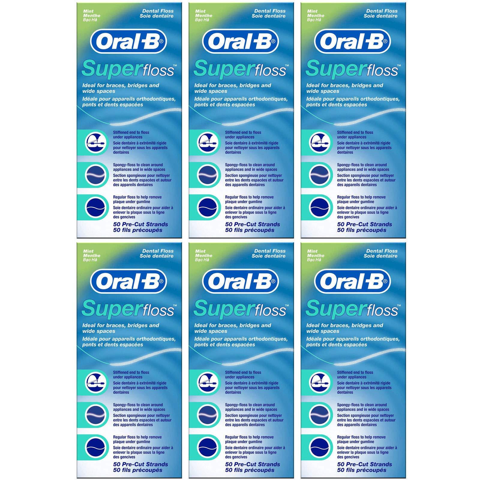 Oral-B - Hilo dental (sabor a menta, 50 hilos cortados, 6