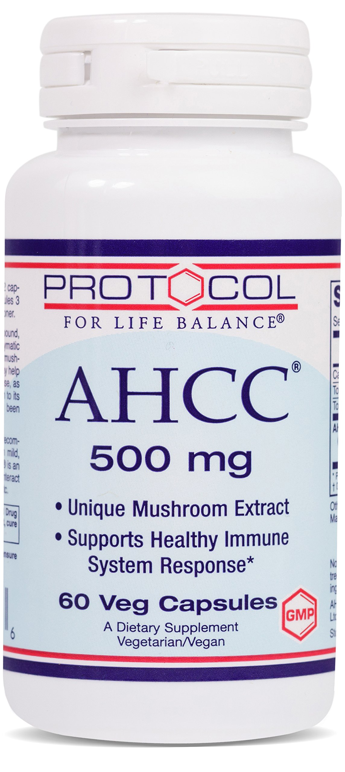 Protocol For Life Balance - AHCC 500 mg - Mushroom Extract to Support Healthy Immune System Response, Rich in Antioxidants, Helps Cardiovascular System Health, - 60 Veg Capsules