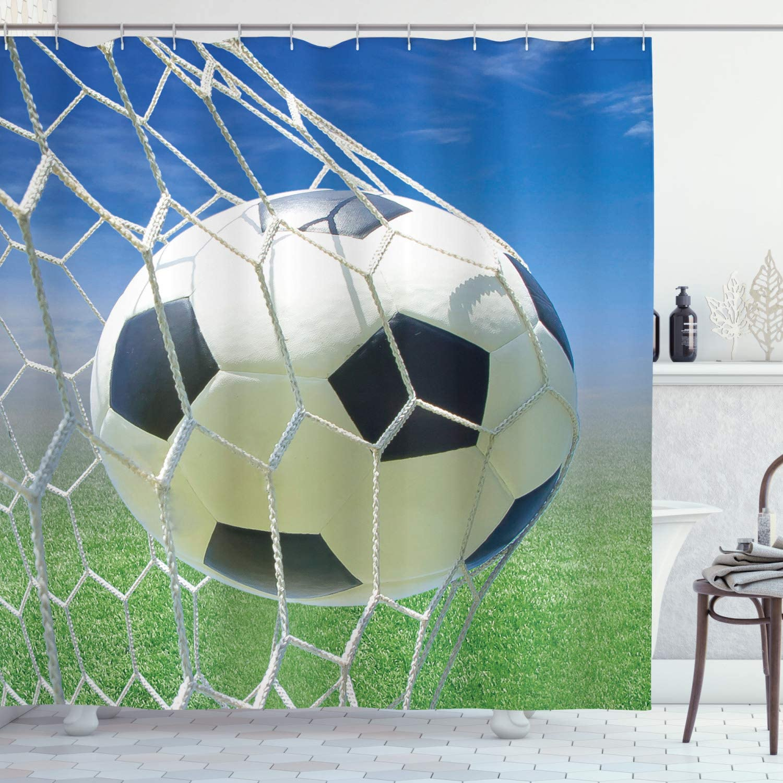 "Ambesonne Sports Decor, Soccer Goal Net Football Games Photo Design Field Grass Sky Ball for Teens and Kids Fabric Shower Curtain, 70"" Long, Blue Green"