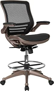 Flash Furniture Mid-Back Transparent Black Mesh Drafting Chair with Melrose Gold Frame and Flip-Up Arms